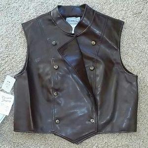 Bridgetown Brown leather vest size large
